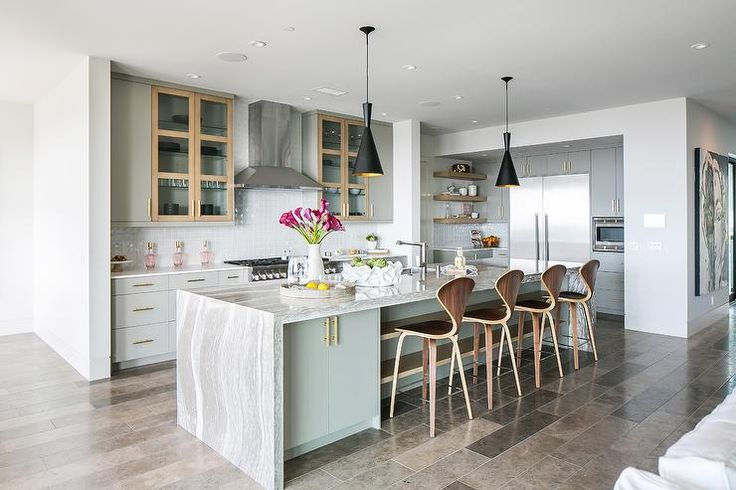 Gray Portable Kitchen Island With Concrete Like Top