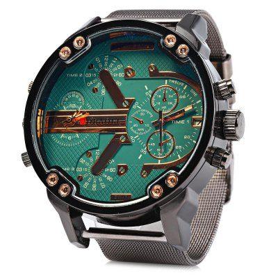 JUBAOLI Men Double Movt Quartz Watch with Date Function