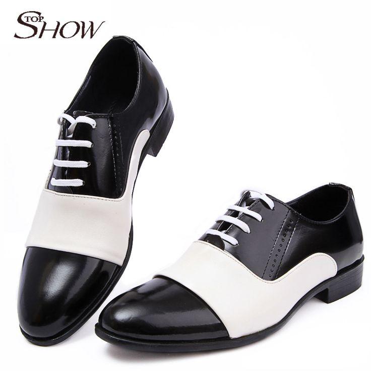 2016 Новая Коллекция Весна Осенняя Мода Мужская Обувь Лакированная Кожа Мужчины платье Обувь Белый Черный Мужской Мягкая Кожа Свадьба Оксфорд обувь