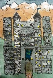 Castle art lesson - water color, sharpie  From Deep Space Sparkle where she uses templates for castle parts