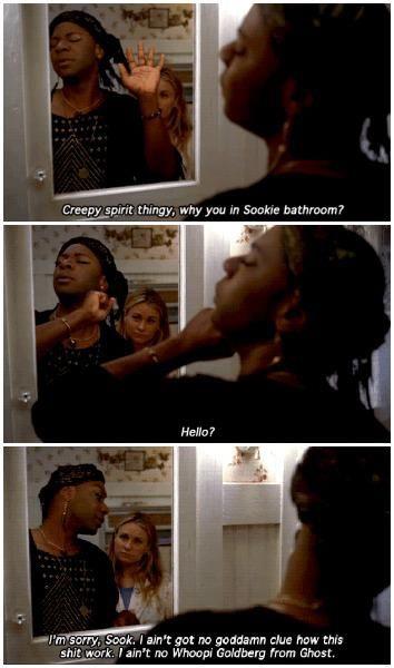 True Blood season 5 episode 9- Everybody Wants to Rule the World. Lafayette in Sookie's bathroom