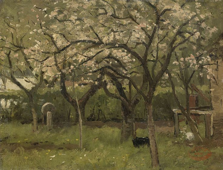 Bloeiende bomen in een boomgaard, Geo Poggenbeek, ca. 1873 - ca. 1903