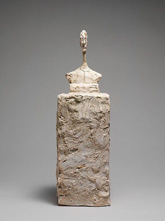 Small Bust on Socle  Alberto Giacometti (Swiss, Borgonovo 1901–1966 Chur)  1947 Painted plaster  36.8 x 11.4 x 10.2 cm
