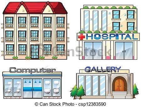Vector - Shops set - stock illustration, royalty free illustrations, stock clip art icon, stock clipart icons, logo, line art, EPS picture, pictures, graphic, graphics, drawing, drawings, vector image, artwork, EPS vector art