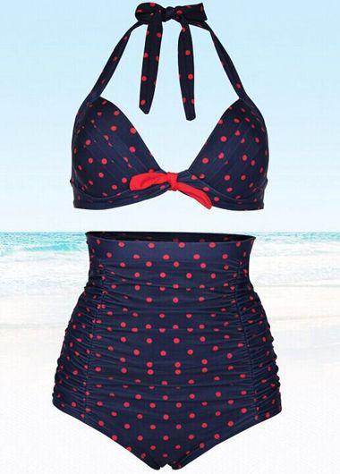 Cute Polka Dot Print Blue High Waist Swimwear