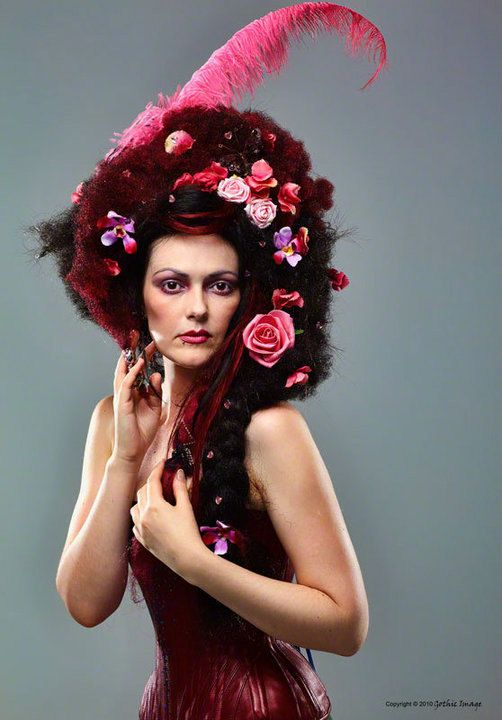Rose Cloud Wig - Custom Made with Flowers, Feathers, Braids + Jewels