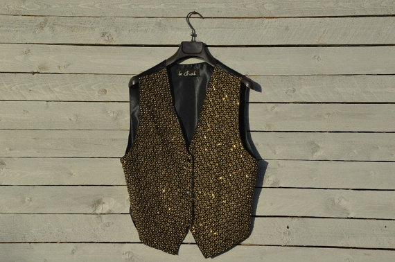 Embellished black vest with golden and white beads by RoaringRetro, $40.00