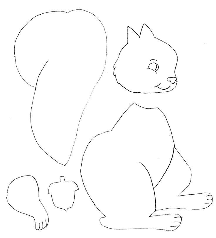 Vorlage zum Ausmalen oder zum Basteln - Eichhörnchen