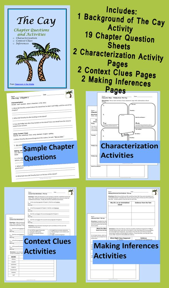 This novel study for Theodore Taylor's The Cay includes chapter questions for each of the 19 chapters, a background activity to use before reading, two characterization activities, two context clues activities, and two inferencing activities.