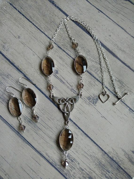 Celtic knot jewellery set necklace and earrings smoky quartz
