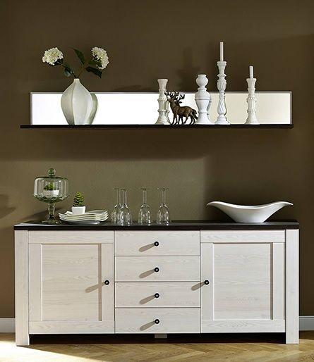 Modern brocante dressoir Maison met soft-close laden uitgevoerd in de kleuren Wit dennen met Antraciet bovenblad