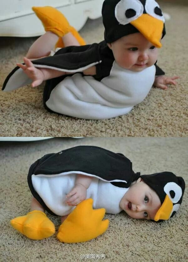For 9-12 month old. DIY costume, pattern at http://www.makeit-loveit.com/2011/10/halloween-cotsumes-2011-penguin-from-mary-poppins.html