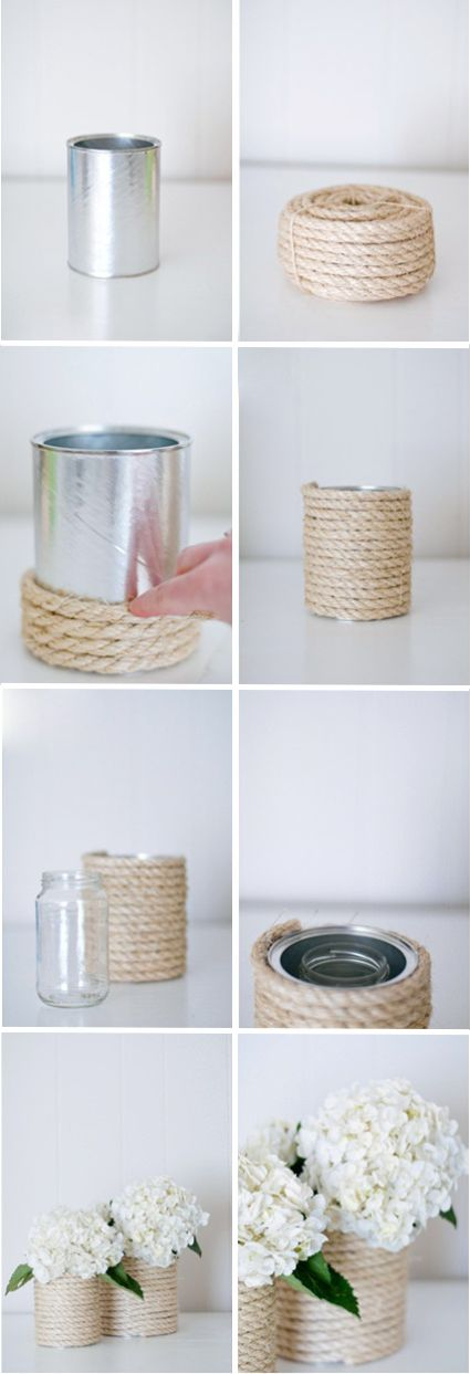 DIY Nautical Rope Vase Centerpiece... would work with hay bale twine too.