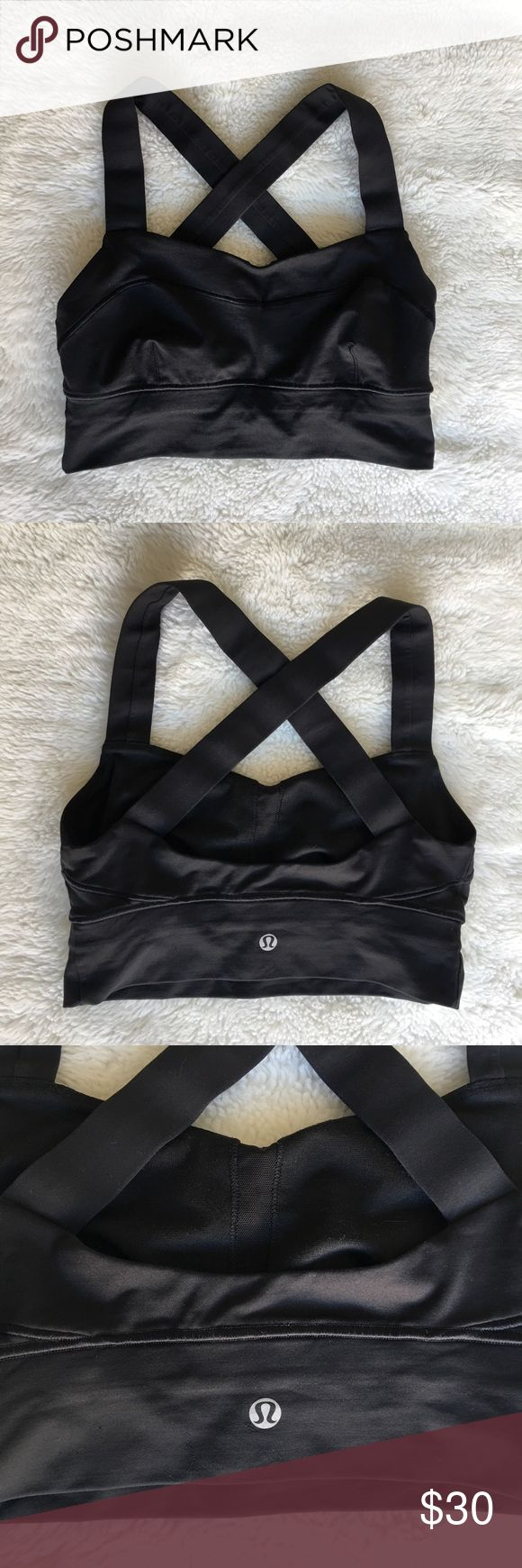 Lululemon Solid Black Sports Bra size 4 Pre-owned authentic Lululemon Solid Black Sports Bra size 4. Please look at pictures for better reference. Happy Shopping! lululemon athletica Tops