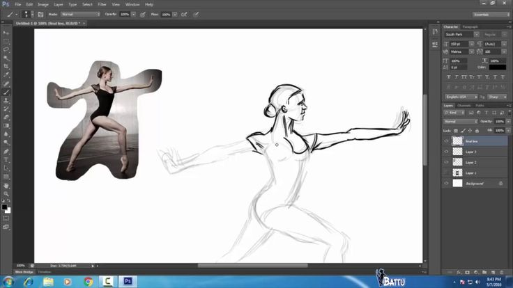 Woman Gymnast Sketch in Photoshop software