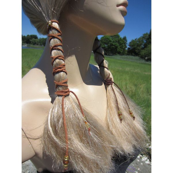 Boho Hair Styles Hair Wraps Beaded Light Brown Leather Ties Ponytail... ($10) ❤ liked on Polyvore featuring accessories, hair accessories, ties & elastics, white, elasticated headband, boho headbands, hair ties, beaded elastic headband and hair extensions headband