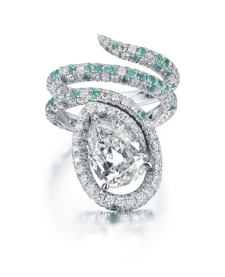 Paolo Costagli Diamond and Paraiba Tourmaline Ring
