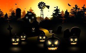 Картинка Holiday halloween, scary town, horror, creepy, trees, bat, vector, midnight, pumpkin