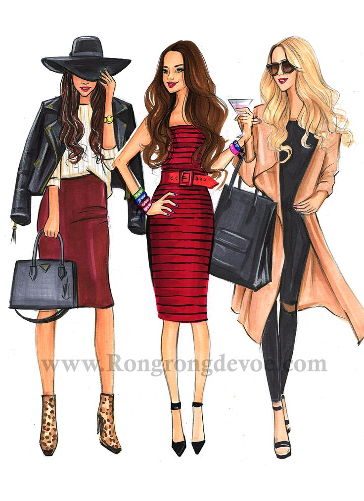Fashion illustration of Fashionistas in winter fashion outfits by Houston Fashion Illustrator Rongrong DeVoe, more sketches on www.rongrongdevoe.com