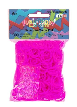 Rainbow Loom Neon Roze met 12 clips. Nieuwste rage, wees er snel bij! Maak met de clips en elastiekjes de mooiste armbandjes en accessoires. Dit zakje bevat maar liefst 300 neon roze elastiekjes en 12 clips.  http://www.planethappy.nl/rainbow-loom-neon-roze-met-12-clips.html