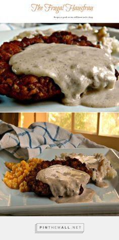 """Cast Iron Skillet Chicken Fried Steak — Actually, I guess I went to """"country!"""" This was adapted from a Cook's Illustrated or Cook's country recipe – growing up in Iowa, it seems like I always just knew how to make this – on a whim, one day, I tried their version & was immediately hooked on the buttermilk/soda/powder crust & the bit of onion in the gravy – non-traditional variances, for sure!"""