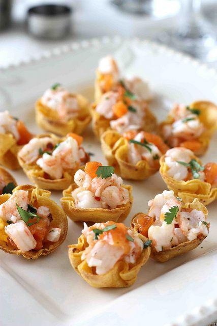 Shrimp & Persimmon Salsa in Toasted Corn Tortilla Cups