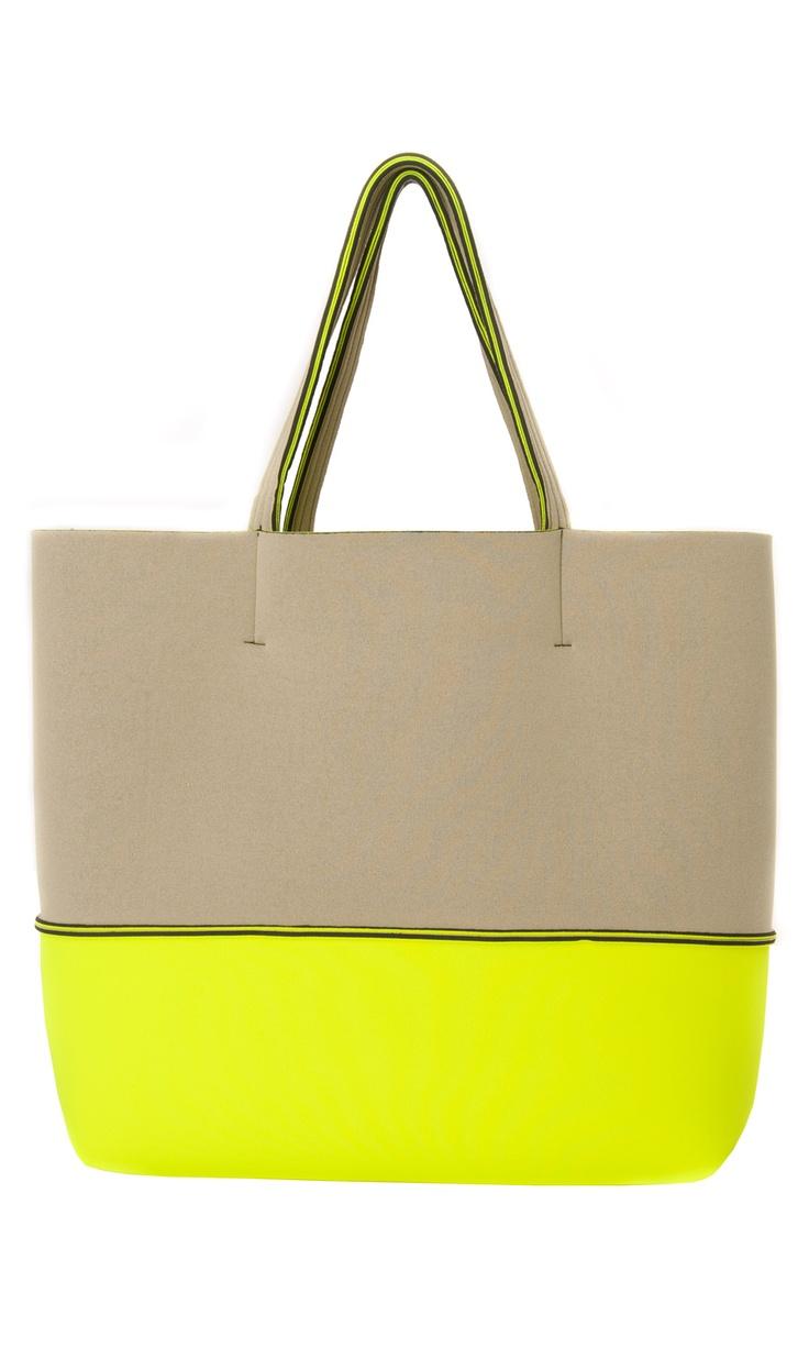 Leghilà Bi-color neoprene Beach Bag - Yellow & Beige #bag