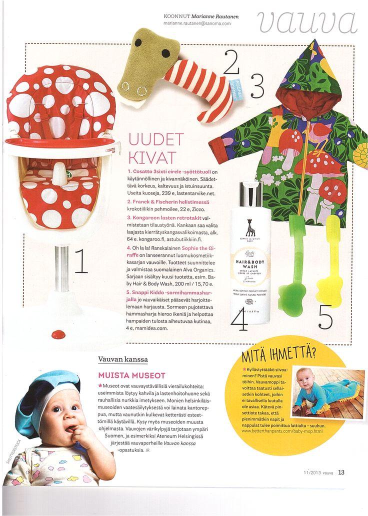 Vauva magazine 11 2013 Sophie la girafe Baby skincare   #sophielagirafe #sophielagirafecosmetics #skincare #ihonhoito #vauva #vauvanihonhoito #ecocert #hudvård #luonnonkosmetiikka #naturkosmetik