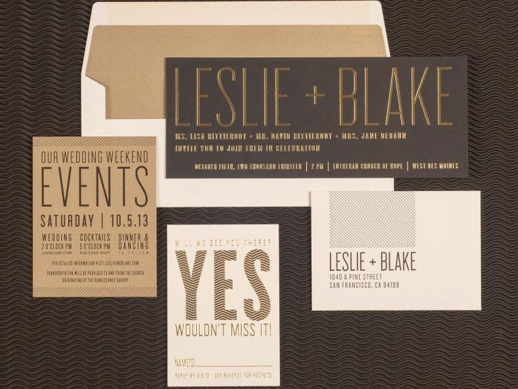 Sans Serif Type and Gold Letterpress wedding invitation by Spark