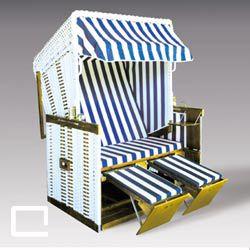 Strandkorb blau-weiß gestreift, Strandkorb mieten, leihen, Sommer, Beachchair