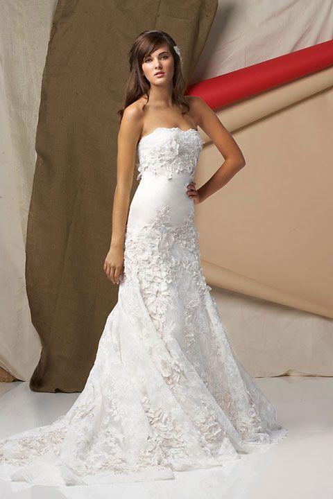Fashionable A-line natural waist lace wedding dress