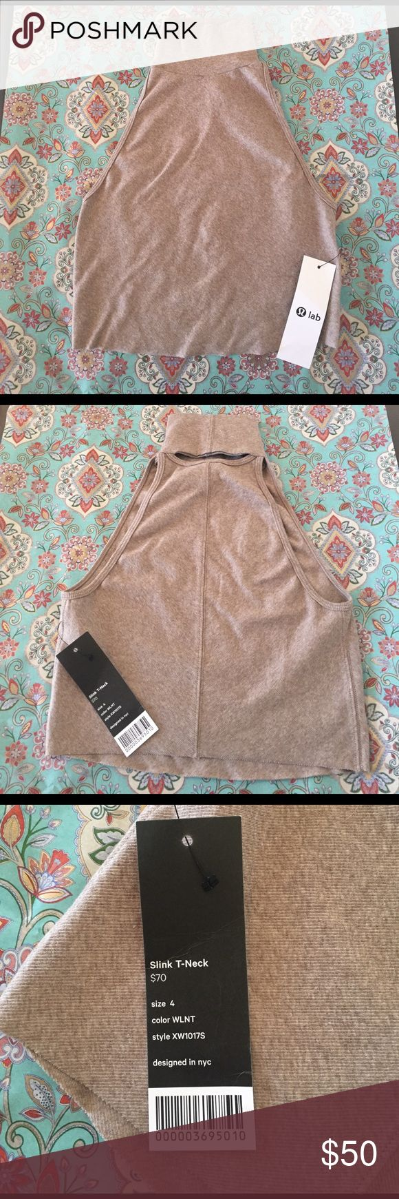 **RARE** NWT Lululemon NYC LAB turtleneck Crop Top NWT- super sexy and modern turtleneck crop top with a little peekaboo in the back neck area. Never worn! Gorgeous tight ribbed cotton with raw cut edge. lululemon athletica Tops Crop Tops