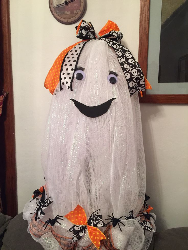 tomato cage deco mesh ghost - Halloween Deco