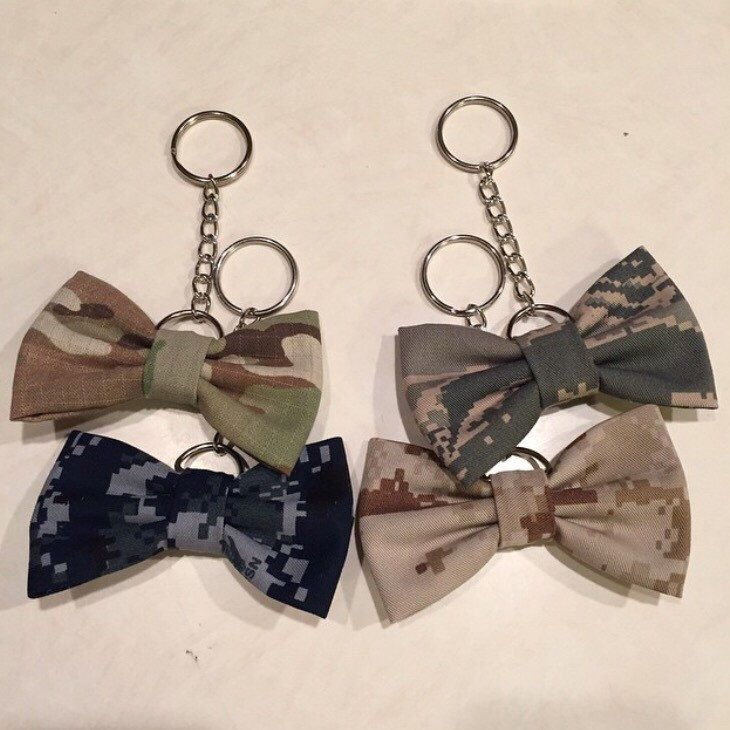 Military Camo Keychain Bow (Army, Marines, Navy, Air Force) by PatrioticBows on www.patrioticbows.com