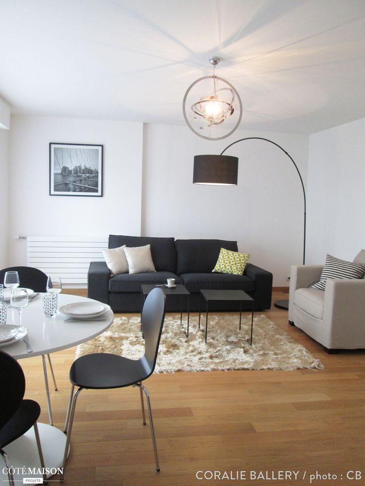 Un salon moderne dont le mobilier est dans un cama eu de for Mobilier de salon moderne