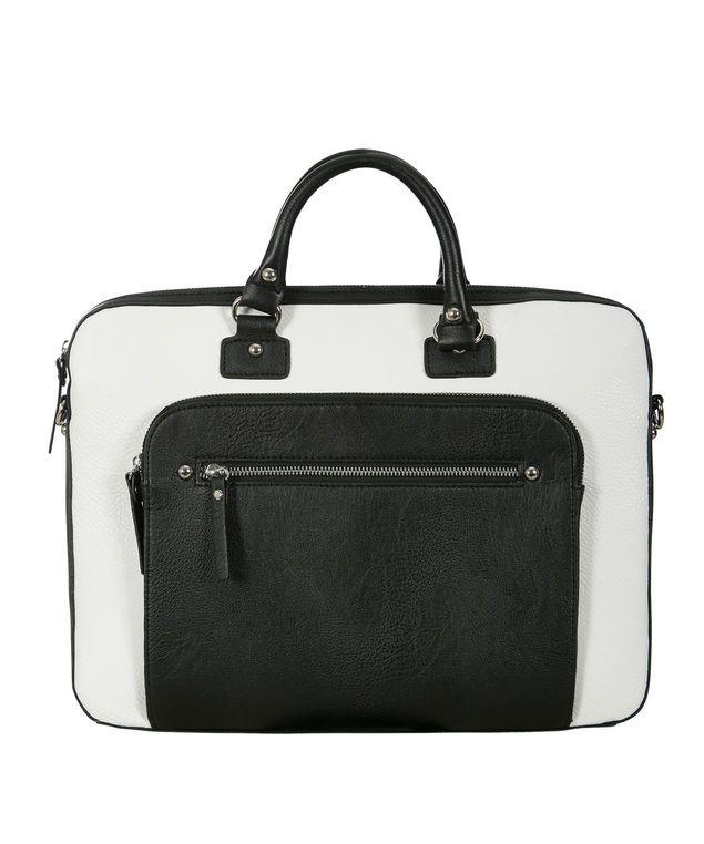 Colourblock Laptop Tote Bag, White/Black