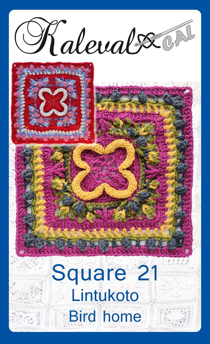 Kalevala CAL square 21 Lintukoto Bird home crochet pattern #crochet #crochetpattern #videotutorial #crochetblanket