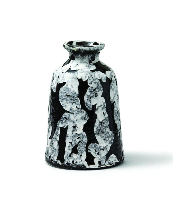 Med Blk/Wht Grit Vase
