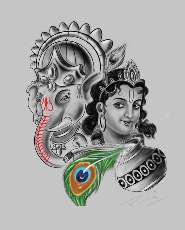 Lord Ganesha And Krishna Fusion Tattoo