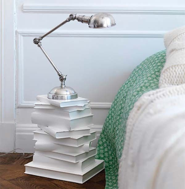 Love the idea of a bed side table and lamp made out of book bases.