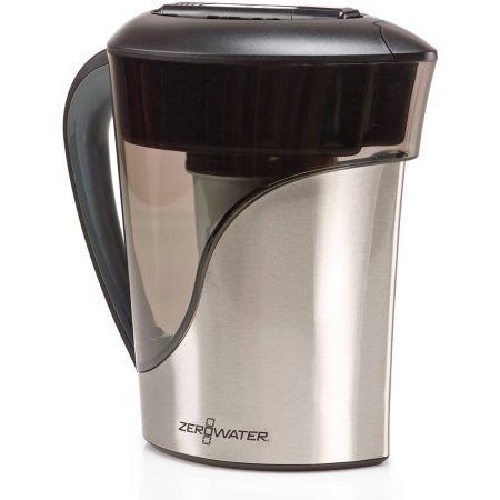 ZeroWater 8-Cup Stainless Steel Pitcher with Free TDS Meter (Total Dissolved Solids), Multicolor
