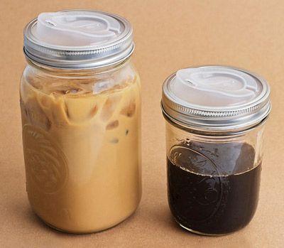 Mason jar turned travel mug. This is going on my birthday list.: Travel Mugs, Masons, Idea, Canning Jars, Mason Jars