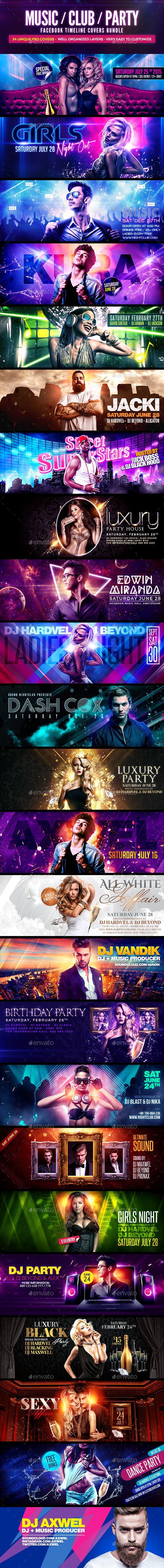24 DJs Facebook Covers PSD Bundle Template #design Download: http://graphicriver.net/item/24-djs-facebook-covers-psd-bundle/12256796?ref=ksioks