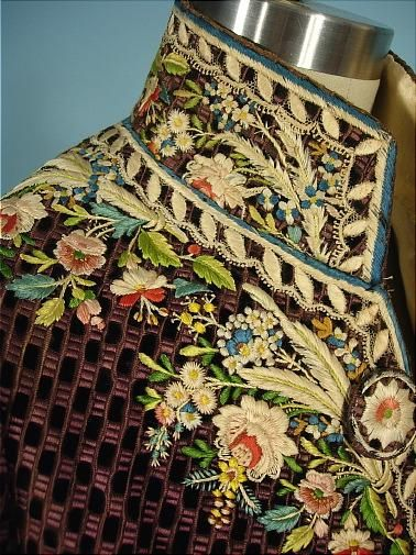 "c. 1770-1790's (late 18th Century) ""Habit a la Francaise"" French Frock Coat of Dark Taupe Cut Velvet with Magnificent Polychrome Floral Silk Embroidery, with Ivory Silk Embroidered Waistcoat, collar detail"