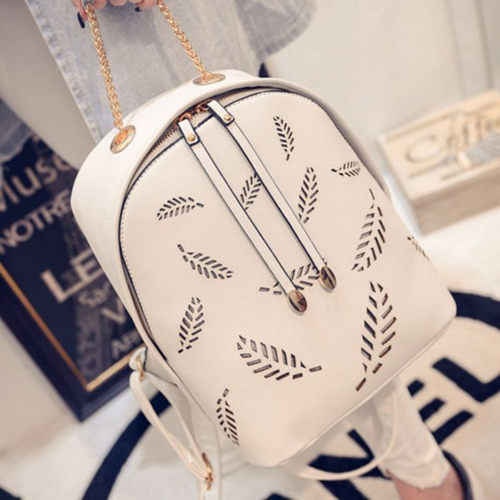 New Feather Pattern Backpack Gold Chain School Bag