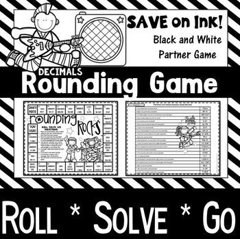 """Studying """"rounding decimals"""" or do your kids just need a little review of rounding to the nearest tenth, hundredth, and thousandth? They are sure to enjoy this Rock and Roll themed decimal game. How does the game work? Students will roll, solve, and then go."""