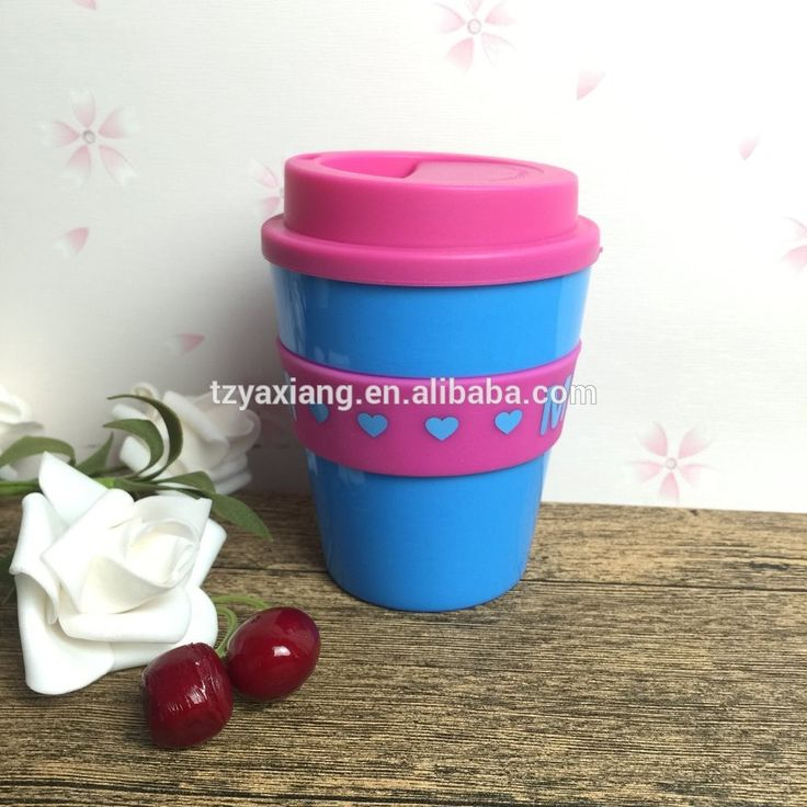 12oz personalized thick wall plastic coffee cup with lid and silica band