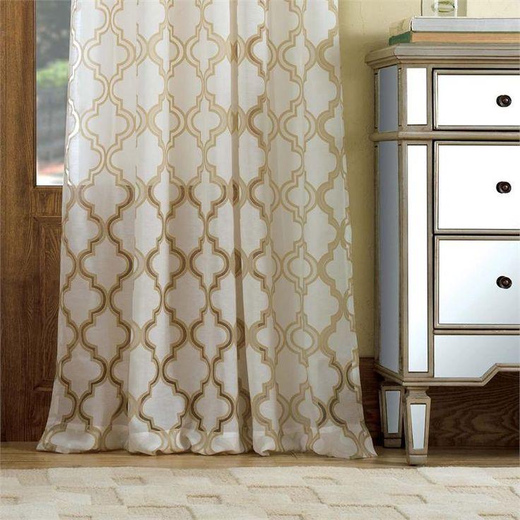 Penrose burnout sheer curtain drapery panels for 108 window treatments