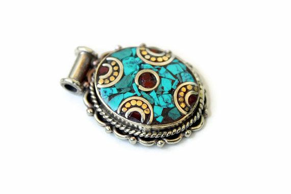 One oval shaped Tibetan Pendant  Handmade Tibetan  by Spectrakraft