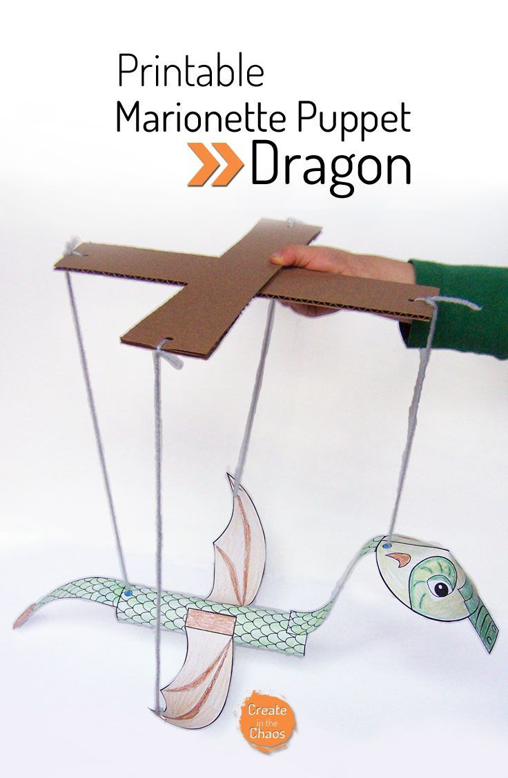 Easy printable craft for kids - Printable Dragon marionette puppet www.createinthech...